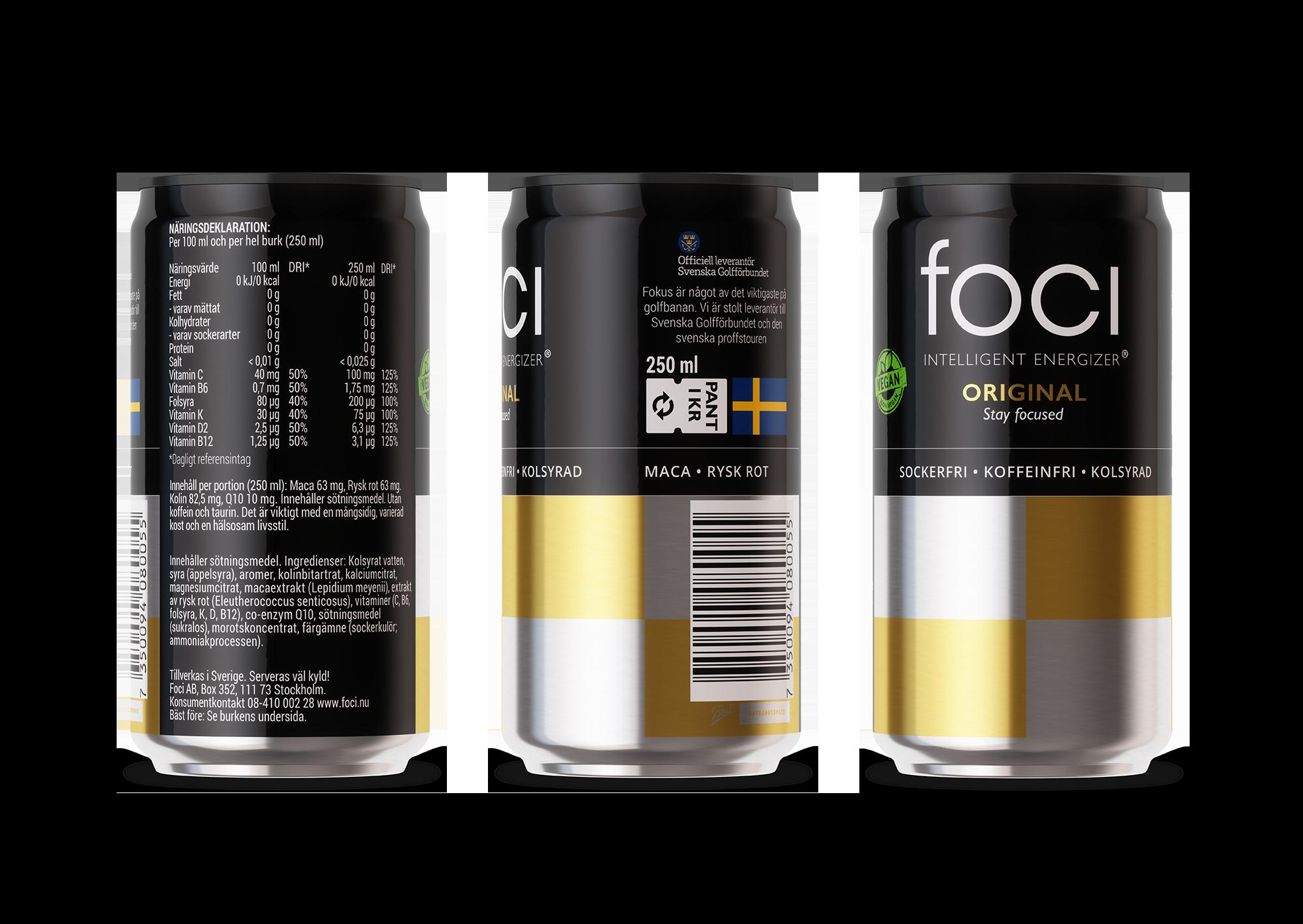 FOCI Intelligent Energizer - Nyttig och hälsosam energidryck - Rysk Rot - Maca - Koffeinfri - Sockerfri